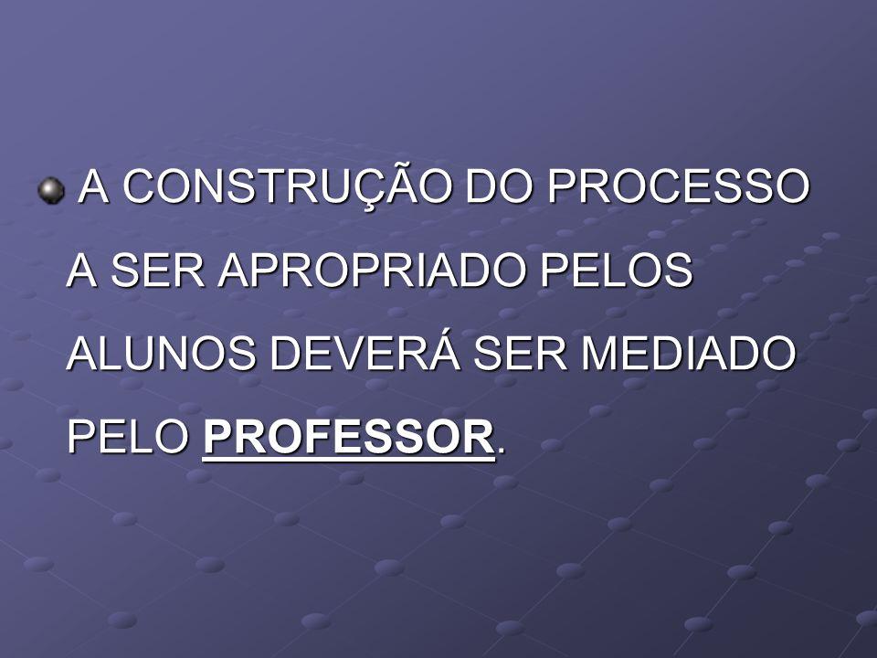A CONSTRUÇÃO DO PROCESSO A SER APROPRIADO PELOS ALUNOS DEVERÁ SER MEDIADO PELO PROFESSOR. A CONSTRUÇÃO DO PROCESSO A SER APROPRIADO PELOS ALUNOS DEVER