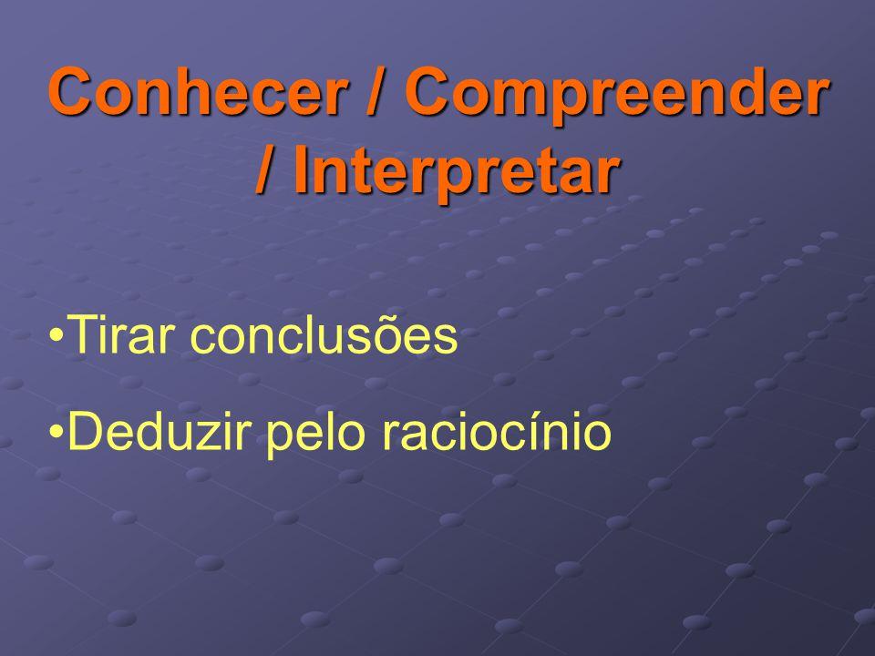 Conhecer / Compreender / Interpretar Tirar conclusões Deduzir pelo raciocínio