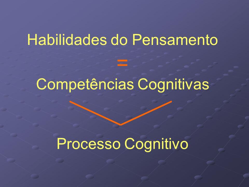 Habilidades do Pensamento = Competências Cognitivas Processo Cognitivo
