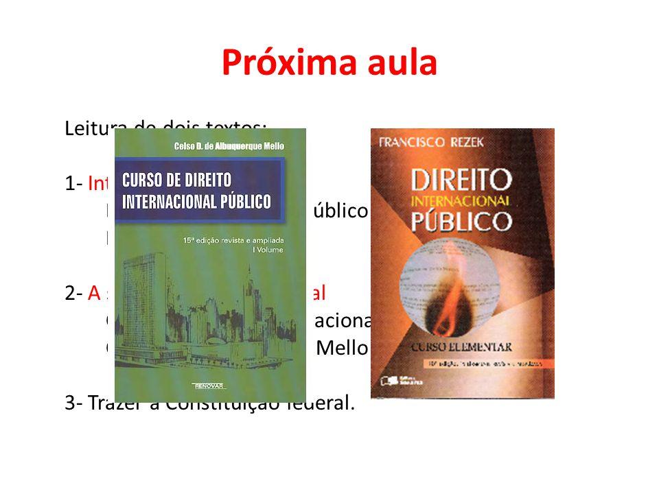 Próxima aula Leitura de dois textos: 1- Introdução Direito internacional público Francisco Resek 2- A sociedade internacional Curso de direito interna