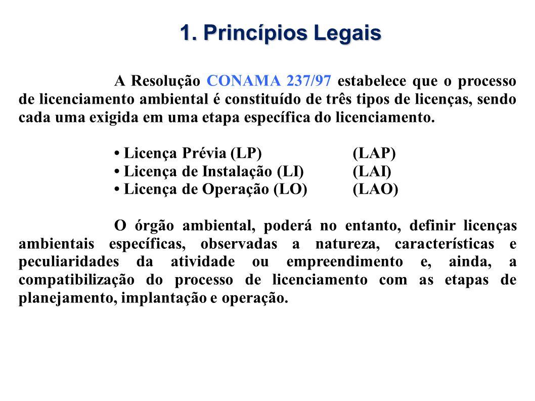 A Resolução CONAMA 237/97 estabelece que o processo de licenciamento ambiental é constituído de três tipos de licenças, sendo cada uma exigida em uma