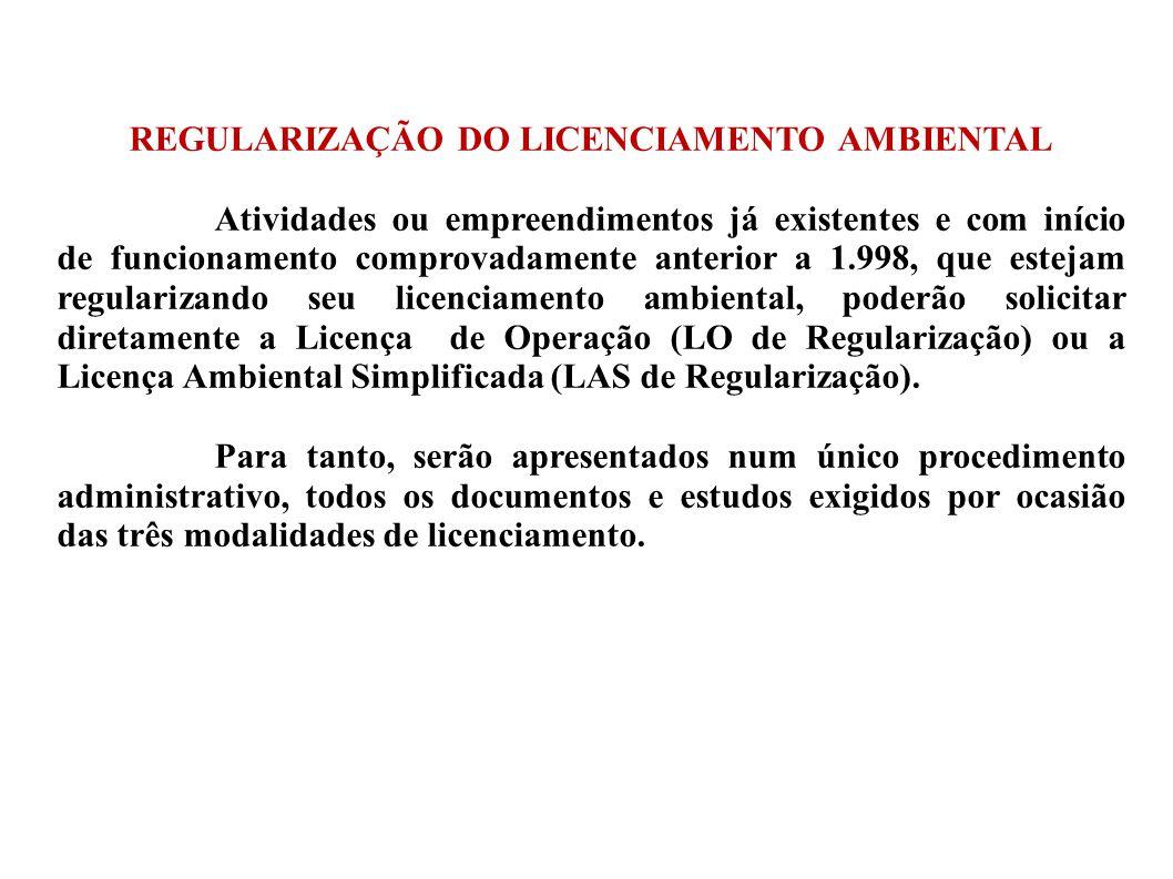 REGULARIZAÇÃO DO LICENCIAMENTO AMBIENTAL Atividades ou empreendimentos já existentes e com início de funcionamento comprovadamente anterior a 1.998, q