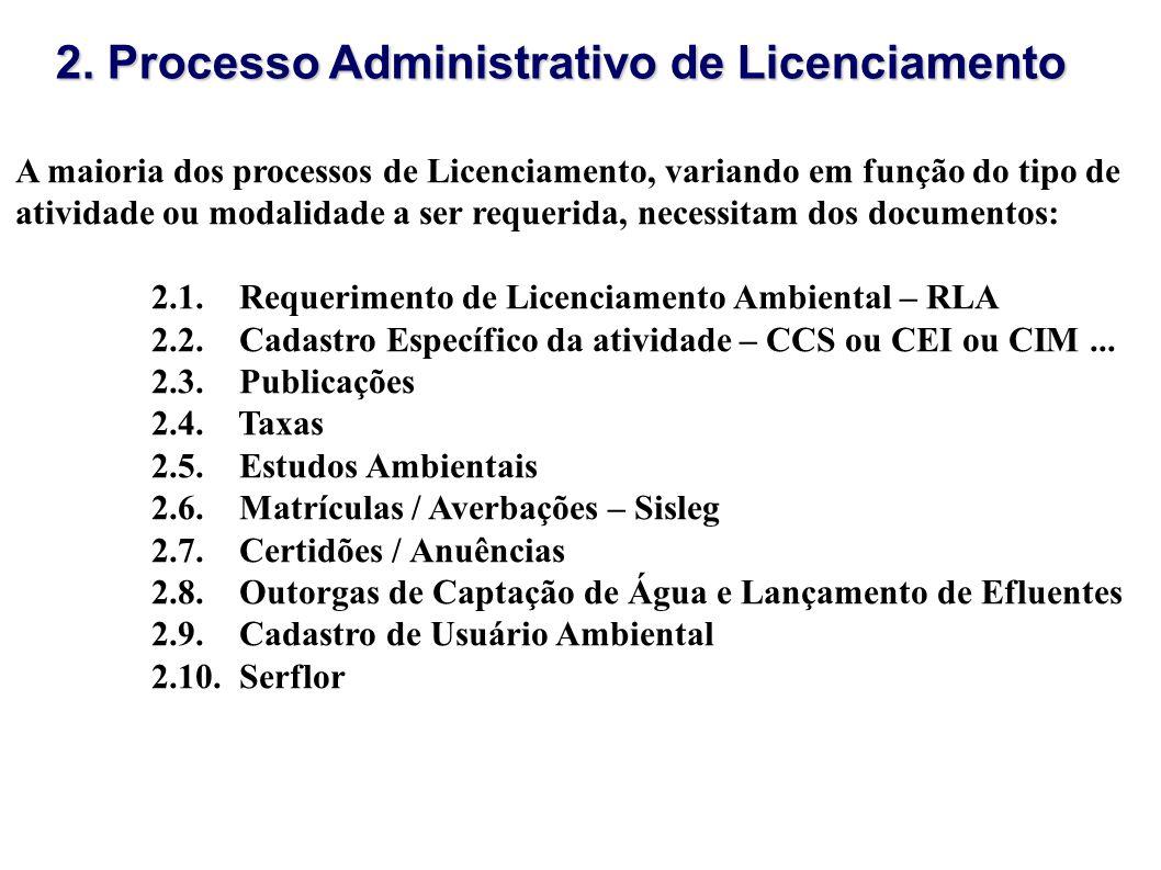 A maioria dos processos de Licenciamento, variando em função do tipo de atividade ou modalidade a ser requerida, necessitam dos documentos: 2.1. Reque