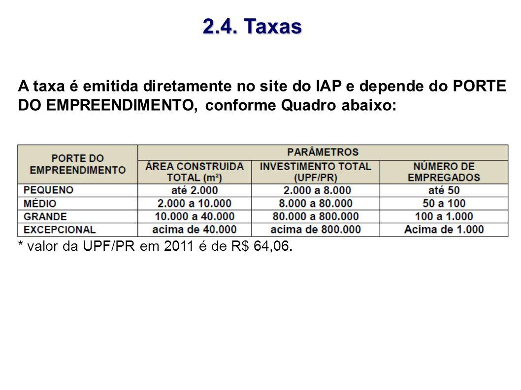* valor da UPF/PR em 2011 é de R$ 64,06. A taxa é emitida diretamente no site do IAP e depende do PORTE DO EMPREENDIMENTO, conforme Quadro abaixo: 2.4