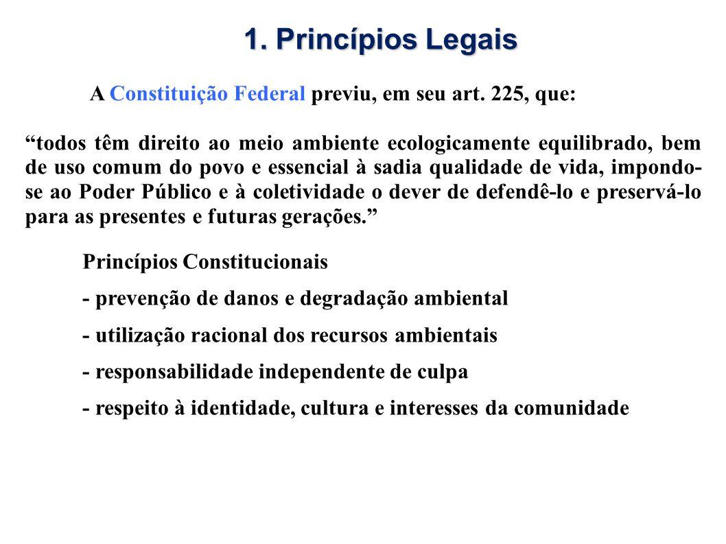 1. Princípios Legais A Constituição Federal previu, em seu art. 225, que: todos têm direito ao meio ambiente ecologicamente equilibrado, bem de uso co