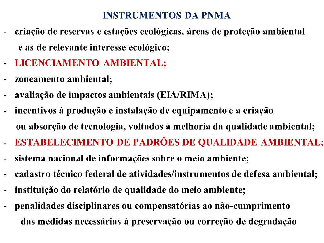 INSTRUMENTOS DA PNMA -criação de reservas e estações ecológicas, áreas de proteção ambiental e as de relevante interesse ecológico; -LICENCIAMENTO AMB