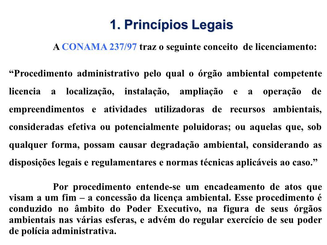 A CONAMA 237/97 traz o seguinte conceito de licenciamento: Procedimento administrativo pelo qual o órgão ambiental competente licencia a localização,