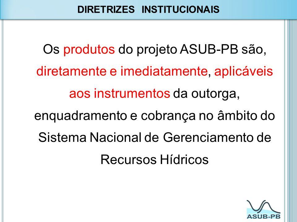 Os produtos do projeto ASUB-PB são, diretamente e imediatamente, aplicáveis aos instrumentos da outorga, enquadramento e cobrança no âmbito do Sistema