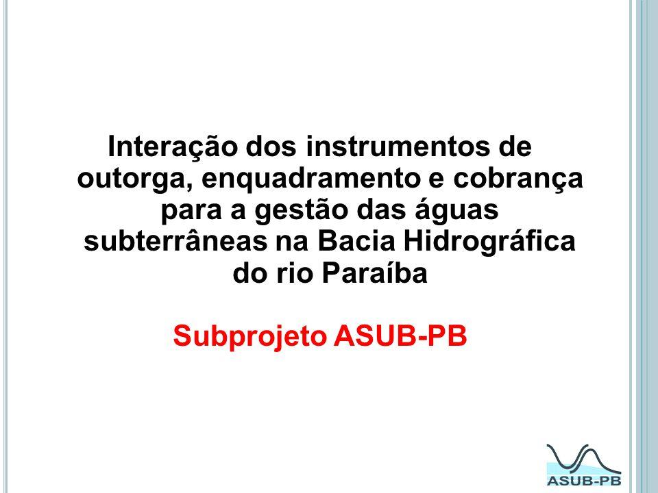 Interação dos instrumentos de outorga, enquadramento e cobrança para a gestão das águas subterrâneas na Bacia Hidrográfica do rio Paraíba Subprojeto A