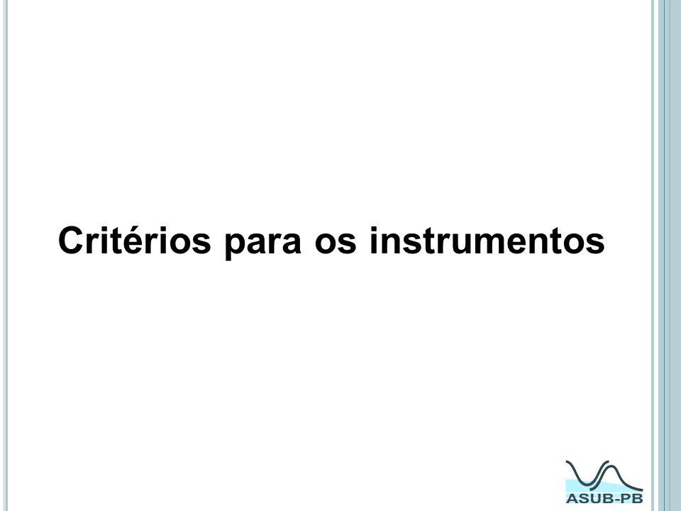 Critérios para os instrumentos