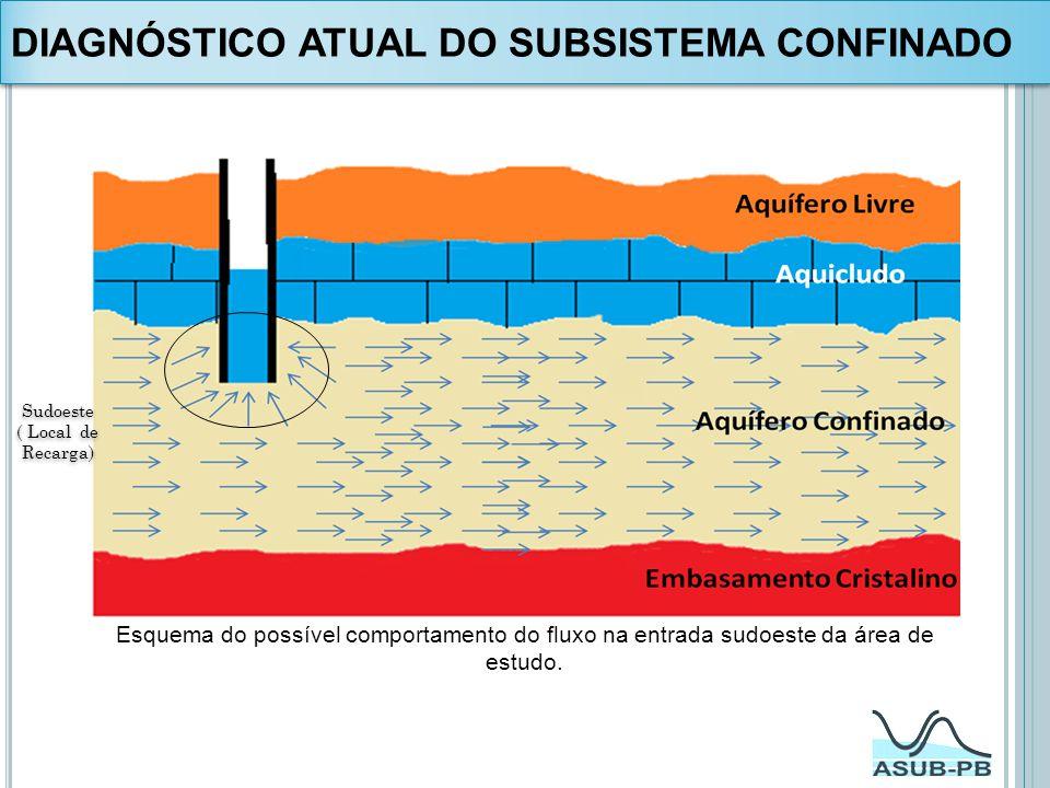 Esquema do possível comportamento do fluxo na entrada sudoeste da área de estudo. Sudoeste ( Local de Recarga) Sudoeste ( Local de Recarga) DIAGNÓSTIC