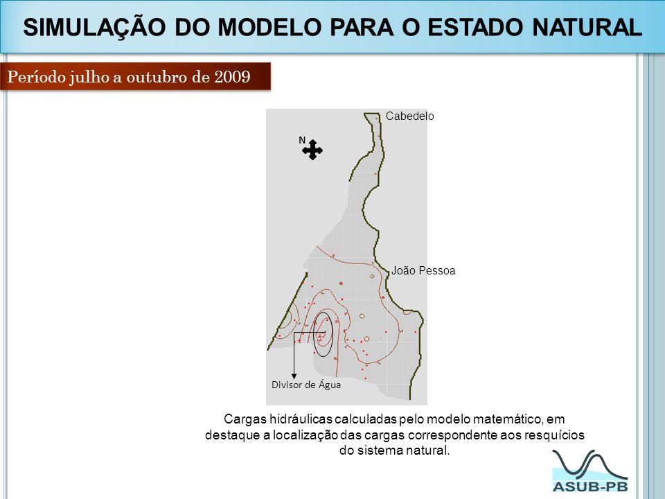 Período julho a outubro de 2009 N Divisor de Água Cargas hidráulicas calculadas pelo modelo matemático, em destaque a localização das cargas correspon