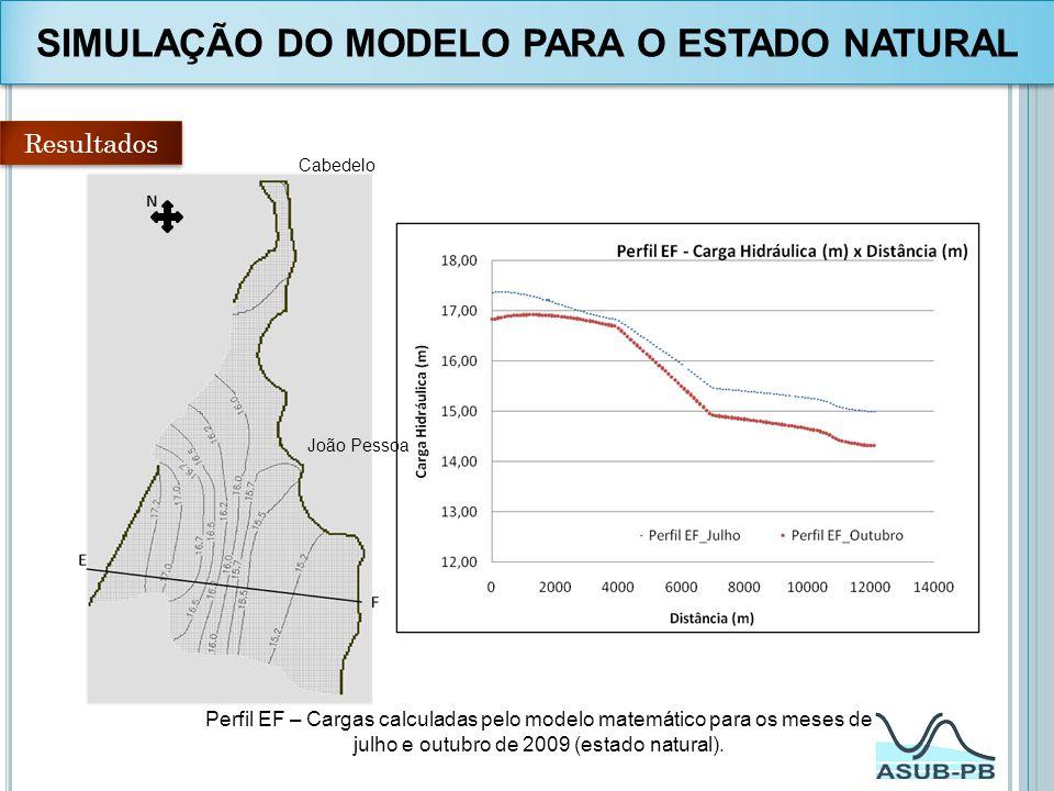Resultados N Perfil EF – Cargas calculadas pelo modelo matemático para os meses de julho e outubro de 2009 (estado natural). Cabedelo João Pessoa