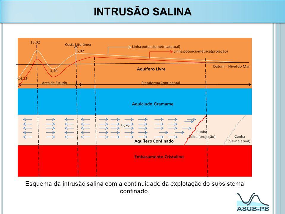 Esquema da intrusão salina com a continuidade da explotação do subsistema confinado. INTRUSÃO SALINA