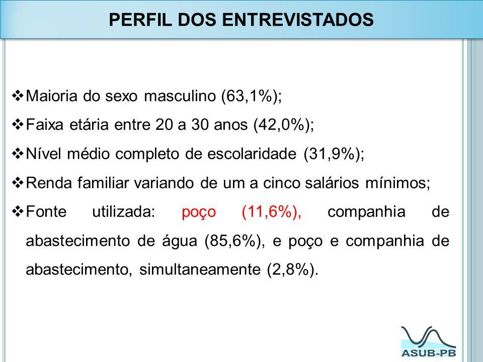 Maioria do sexo masculino (63,1%); Faixa etária entre 20 a 30 anos (42,0%); Nível médio completo de escolaridade (31,9%); Renda familiar variando de u