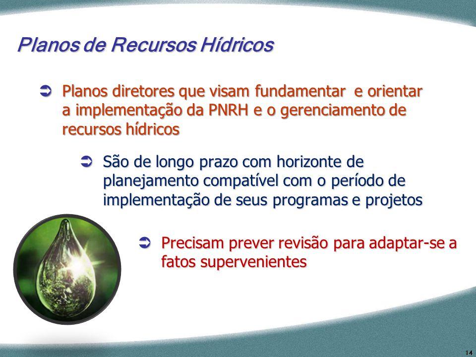 14 Planos de Recursos Hídricos São de longo prazo com horizonte de planejamento compatível com o período de implementação de seus programas e projetos