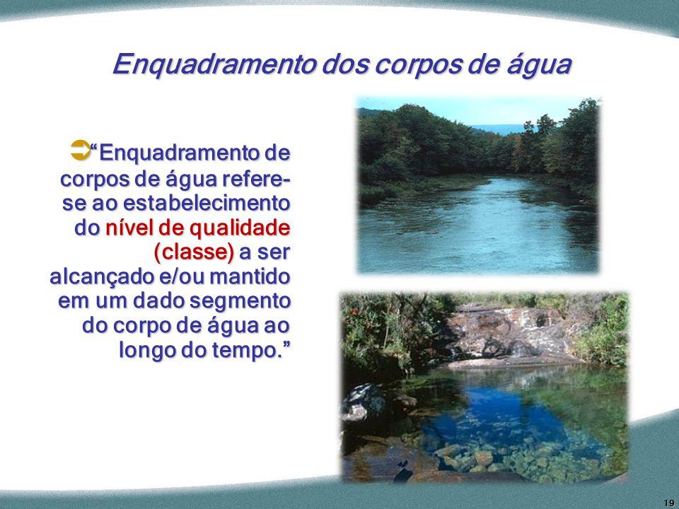 19 Enquadramento dos corpos de água Enquadramento de corpos de água refere- se ao estabelecimento do nível de qualidade (classe) a ser alcançado e/ou