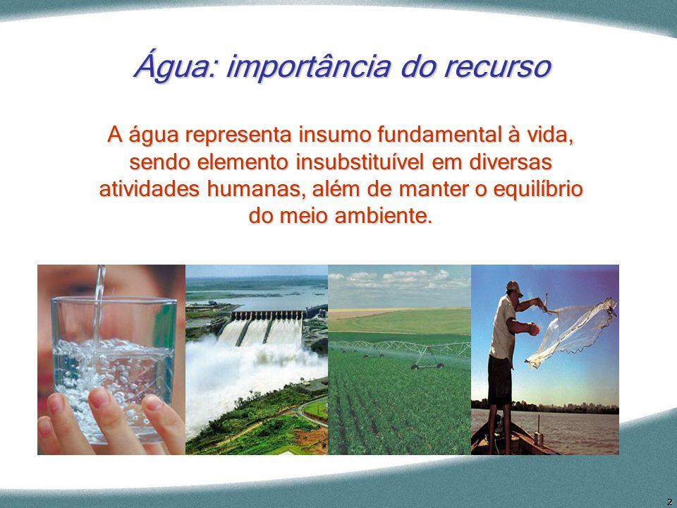 2 Água: importância do recurso A água representa insumo fundamental à vida, sendo elemento insubstituível em diversas atividades humanas, além de mant