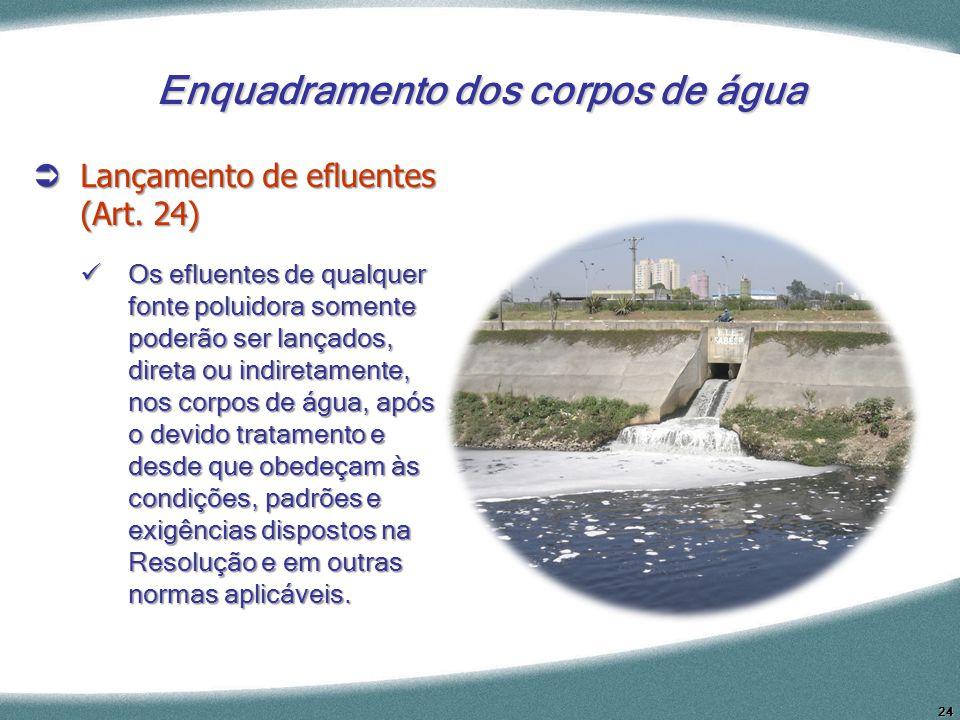 24 Enquadramento dos corpos de água Lançamento de efluentes (Art. 24) Lançamento de efluentes (Art. 24) Os efluentes de qualquer fonte poluidora somen