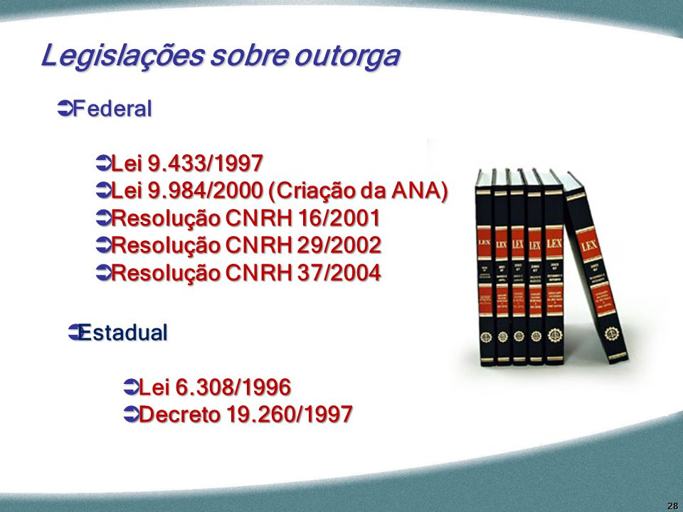 28 Federal Federal Lei 9.433/1997 Lei 9.433/1997 Lei 9.984/2000 (Criação da ANA) Lei 9.984/2000 (Criação da ANA) Resolução CNRH 16/2001 Resolução CNRH