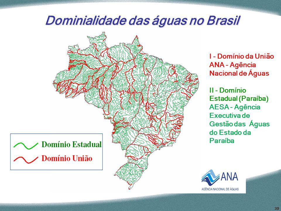30 Dominialidade das águas no Brasil I - Domínio da União ANA - Agência Nacional de Águas II - Domínio Estadual (Paraíba) AESA - Agência Executiva de