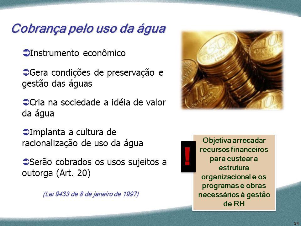34 Cobrança pelo uso da água Instrumento econômico Gera condições de preservação e gestão das águas Cria na sociedade a idéia de valor da água Implant