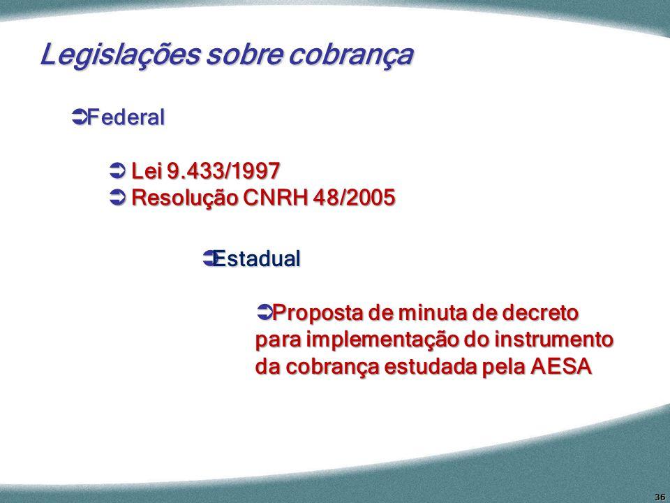 36 Federal Federal Lei 9.433/1997 Lei 9.433/1997 Resolução CNRH 48/2005 Resolução CNRH 48/2005 Estadual Estadual Proposta de minuta de decreto para im