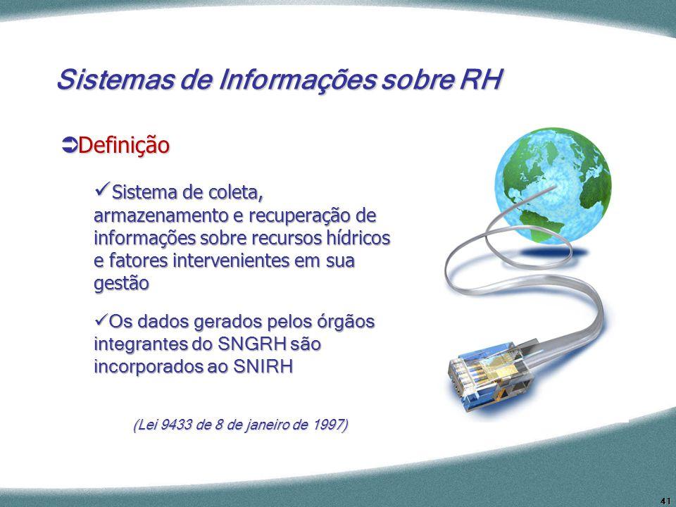 41 (Lei 9433 de 8 de janeiro de 1997) Sistemas de Informações sobre RH Definição Definição Sistema de coleta, armazenamento e recuperação de informaçõ