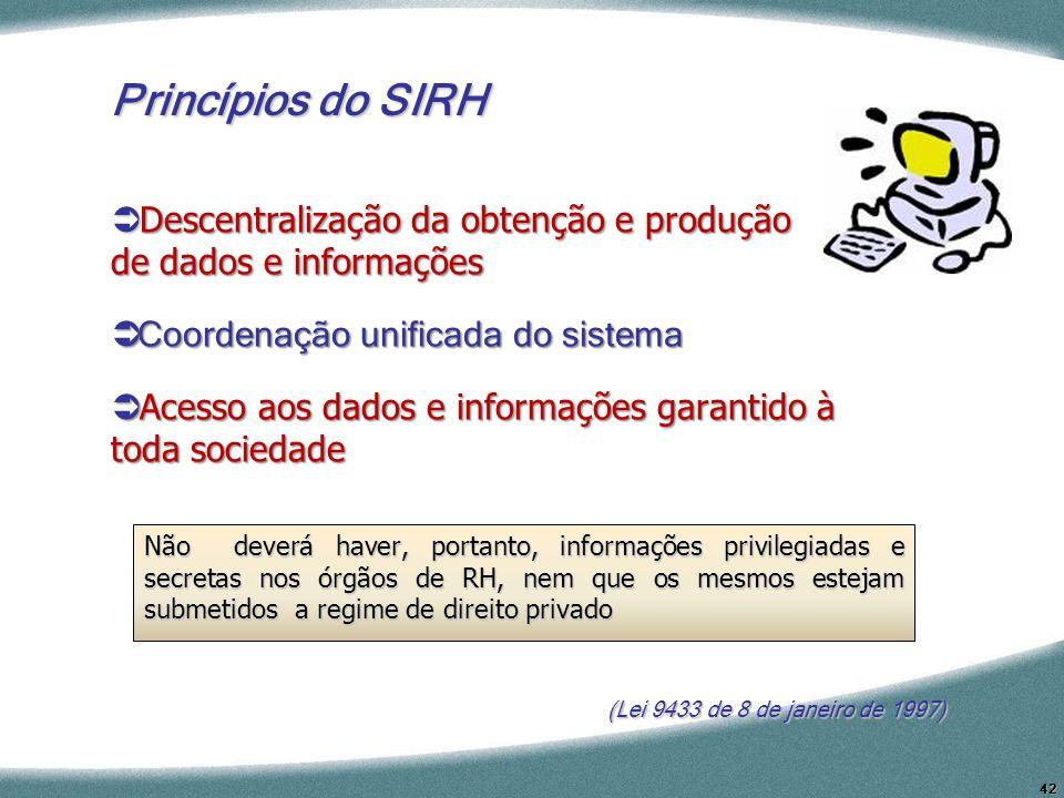 42 (Lei 9433 de 8 de janeiro de 1997) Princípios do SIRH Descentralização da obtenção e produção de dados e informações Descentralização da obtenção e