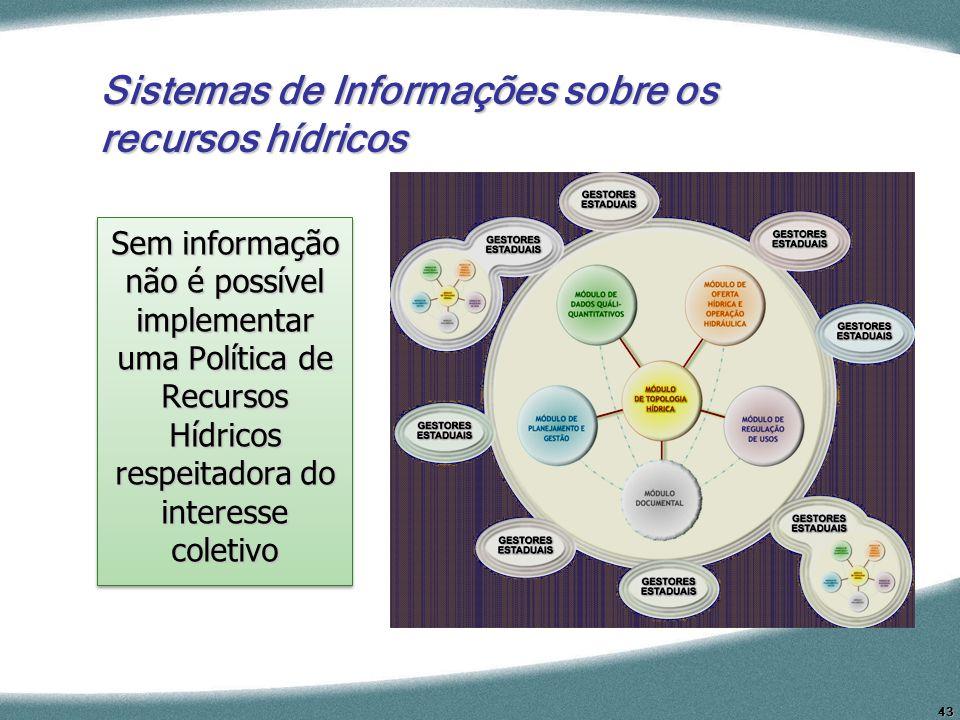 43 Sistemas de Informações sobre os recursos hídricos Sem informação não é possível implementar uma Política de Recursos Hídricos respeitadora do inte