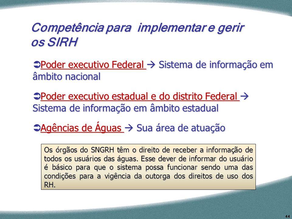 44 Competência para implementar e gerir os SIRH Poder executivo Federal Sistema de informação em âmbito nacional Poder executivo Federal Sistema de in