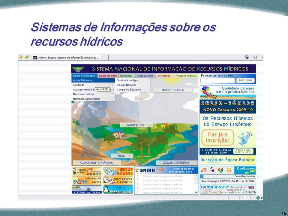 45 Sistemas de Informações sobre os recursos hídricos