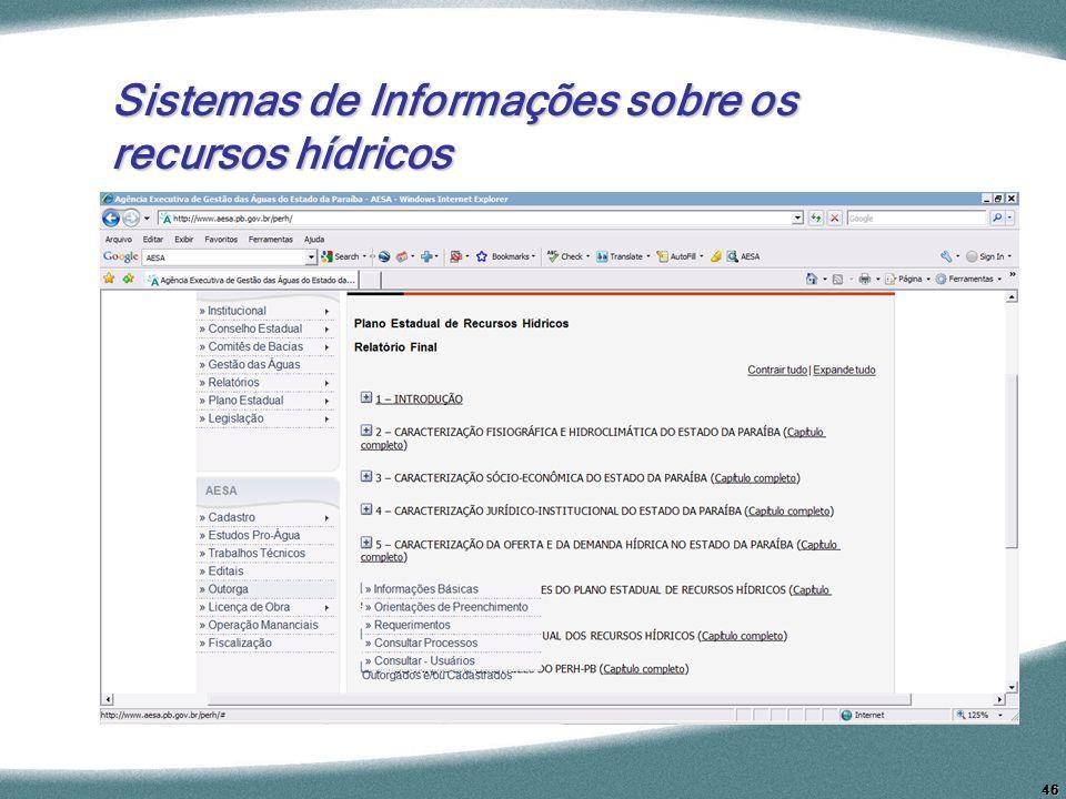 46 Sistemas de Informações sobre os recursos hídricos