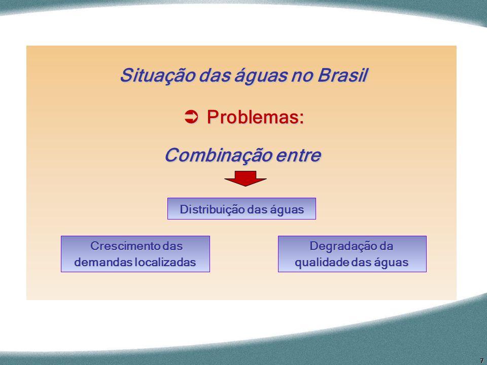 7 Situação das águas no Brasil Problemas: Problemas: Combinação entre Crescimento das demandas localizadas Crescimento das demandas localizadas Degrad