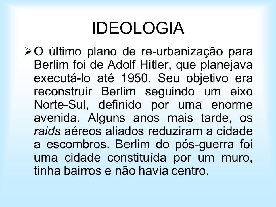 IDEOLOGIA O último plano de re-urbanização para Berlim foi de Adolf Hitler, que planejava executá-lo até 1950. Seu objetivo era reconstruir Berlim seg