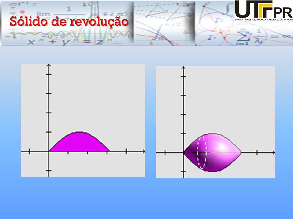 A secção transversal típica de um sólido perpendicular ao eixo de rotação é um disco de raio R(x):