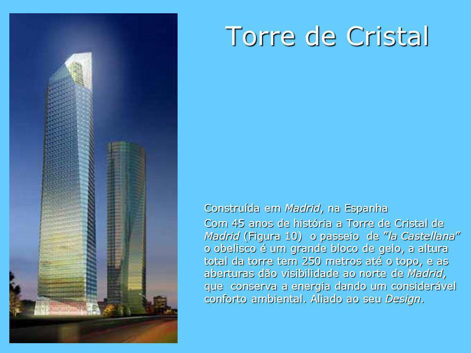 Torre de Cristal Construída em Madrid, na Espanha Com 45 anos de história a Torre de Cristal de Madrid (Figura 10) o passeio de la Castellana o obelis