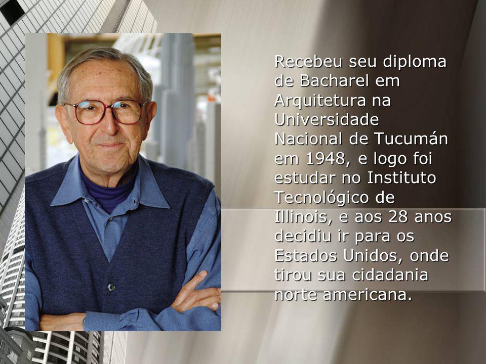 Recebeu seu diploma de Bacharel em Arquitetura na Universidade Nacional de Tucumán em 1948, e logo foi estudar no Instituto Tecnológico de Illinois, e