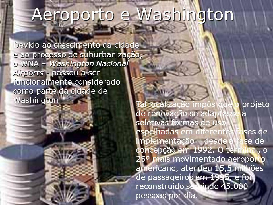 Aeroporto e Washington Devido ao crescimento da cidade e ao processo de suburbanização, o WNA – Washington Nacional Airports - passou a ser funcionalm