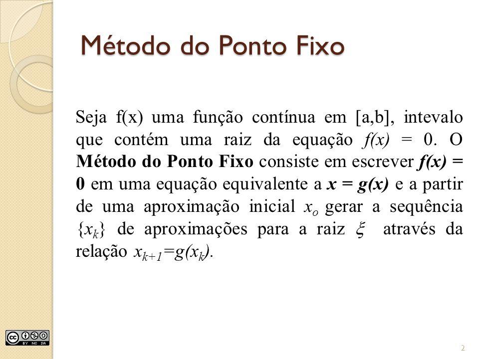 Método do Ponto Fixo Seja f(x) uma função contínua em [a,b], intevalo que contém uma raiz da equação f(x) = 0. O Método do Ponto Fixo consiste em escr