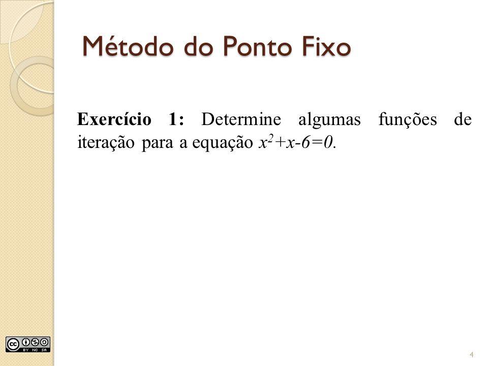 Método do Ponto Fixo Exercício 1: Determine algumas funções de iteração para a equação x 2 +x-6=0. 4