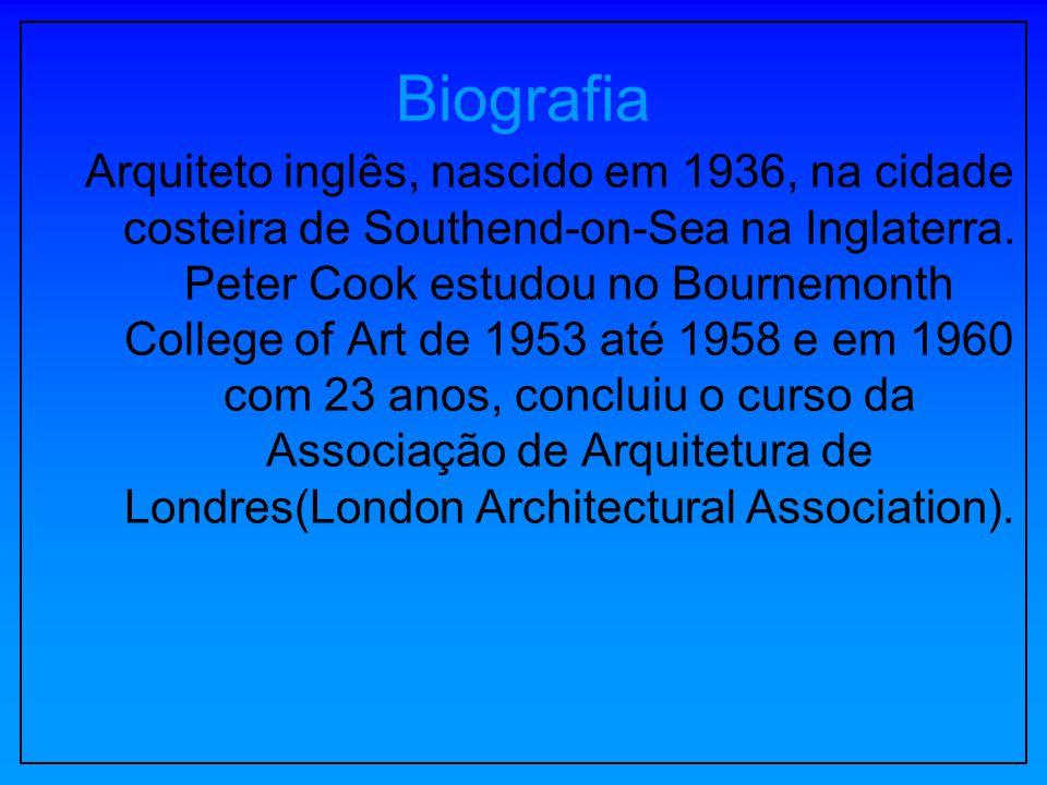 Biografia Arquiteto inglês, nascido em 1936, na cidade costeira de Southend-on-Sea na Inglaterra. Peter Cook estudou no Bournemonth College of Art de