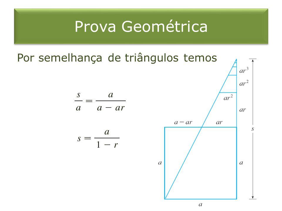 Prova Geométrica Por semelhança de triângulos temos