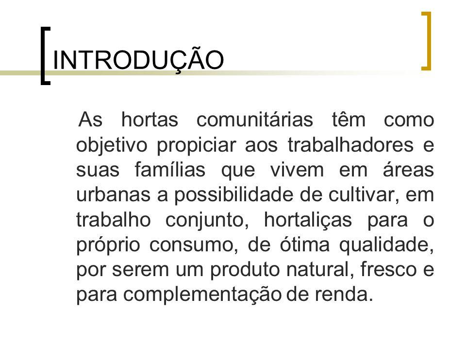 REFERENCIAL TEÓRICO IMPLANTAÇÃO DA HORTA: A produção de hortaliças pode ser feita em grande ou em pequena escala, em níveis caseiros ou comunitários.