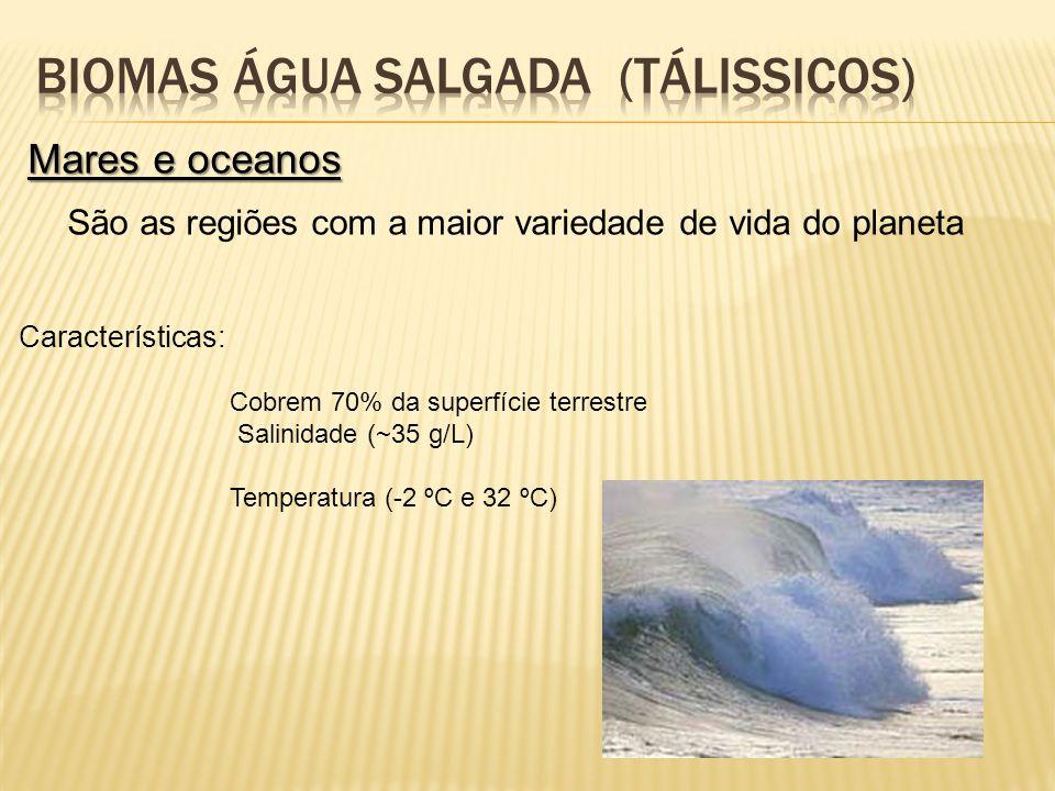Mares e oceanos São as regiões com a maior variedade de vida do planeta Características: Cobrem 70% da superfície terrestre Salinidade (~35 g/L) Tempe