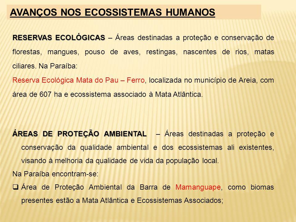 RESERVAS ECOLÓGICAS RESERVAS ECOLÓGICAS – Áreas destinadas a proteção e conservação de florestas, mangues, pouso de aves, restingas, nascentes de rios