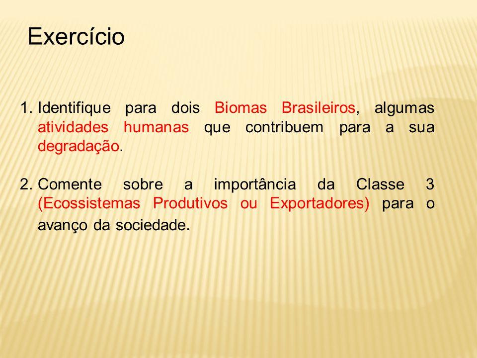 Exercício 1.Identifique para dois Biomas Brasileiros, algumas atividades humanas que contribuem para a sua degradação. 2.Comente sobre a importância d