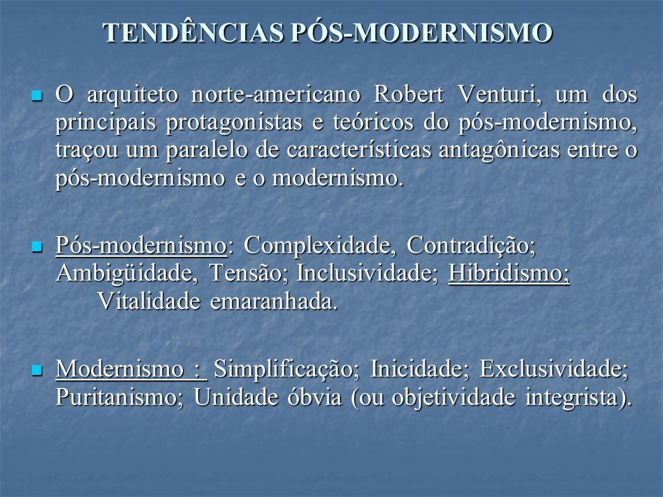 TENDÊNCIAS PÓS-MODERNISMO O arquiteto norte-americano Robert Venturi, um dos principais protagonistas e teóricos do pós-modernismo, traçou um paralelo