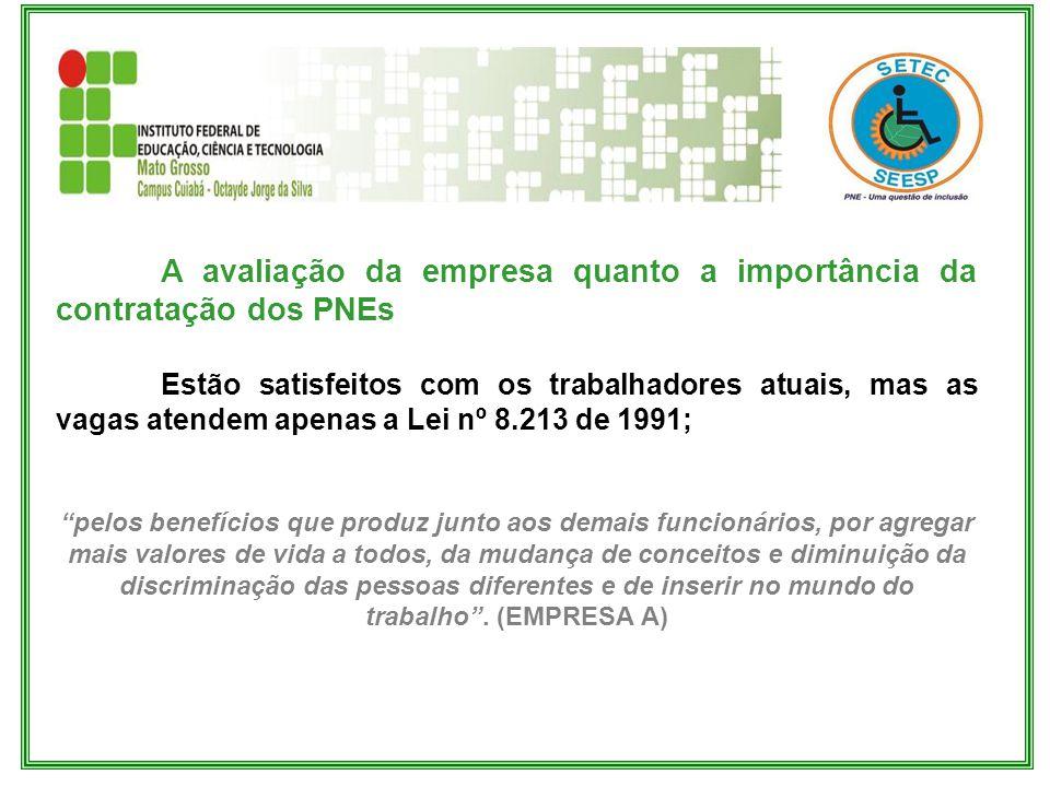 A avaliação da empresa quanto a importância da contratação dos PNEs Estão satisfeitos com os trabalhadores atuais, mas as vagas atendem apenas a Lei n