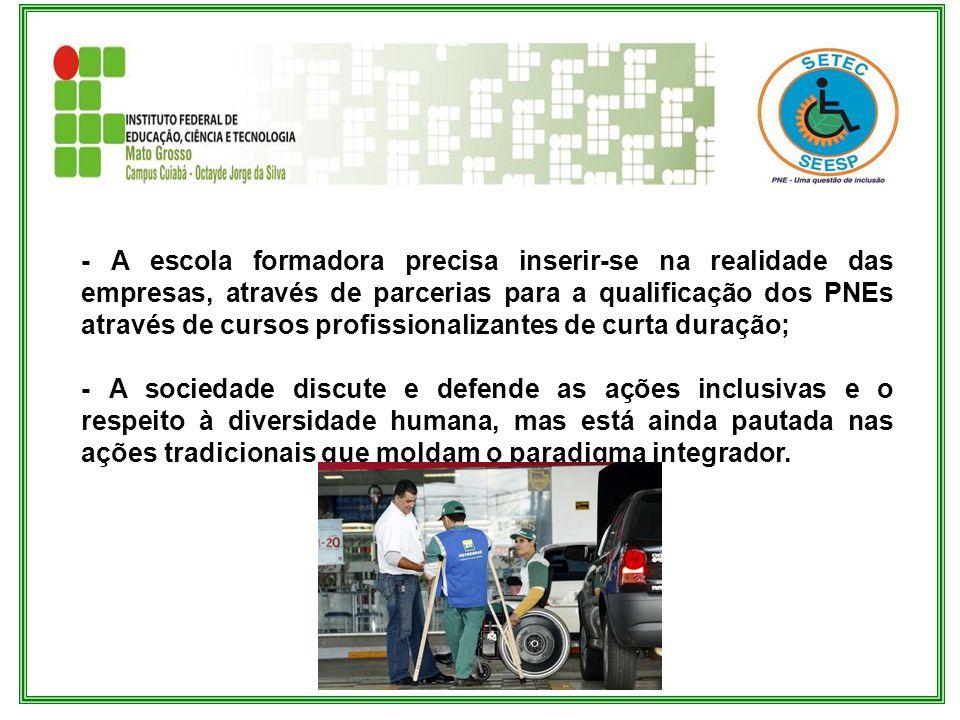 - A escola formadora precisa inserir-se na realidade das empresas, através de parcerias para a qualificação dos PNEs através de cursos profissionaliza